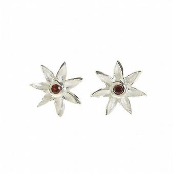 Cavendish French Silver and Garnet CZ Starflower Earrings