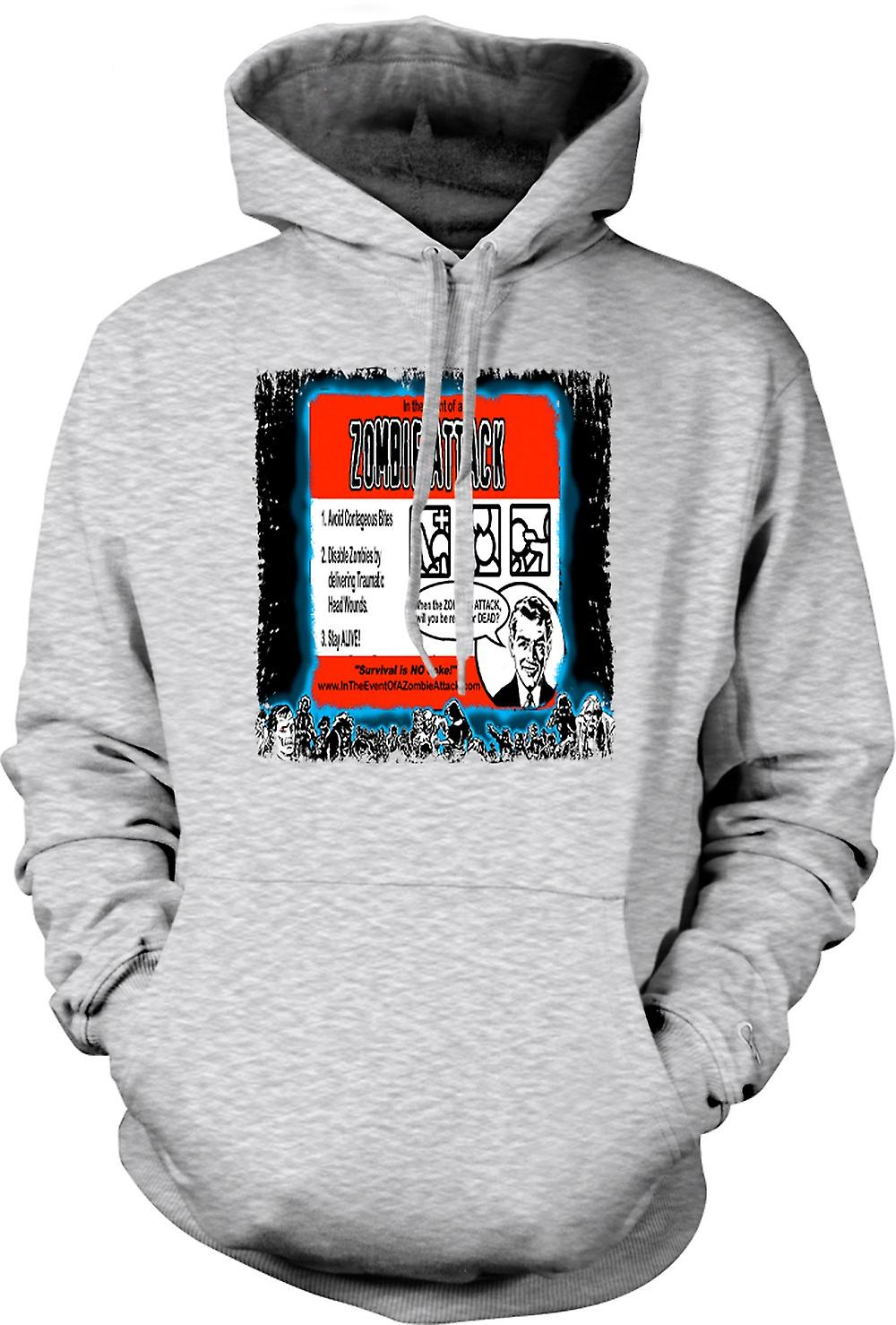 Mens Hoodie - Zombie Attack regler - Funny