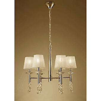 Tiffany Pendant 6+6 Light E14+g9, French Gold With Cream Shades & Clear Crystal