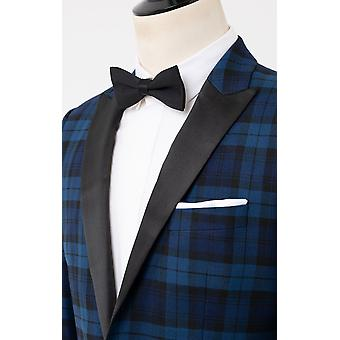 Dobell herr blå tartan Tuxedo jacka Regular fit Peak lapel