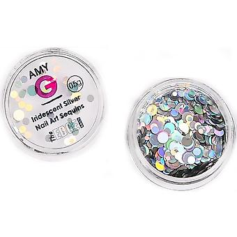 The Edge Nails Amy G - Iridescent Nail Art Sequins - Silver 0.5g (3003075)