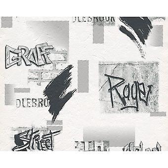 A.S. Creation AS opprettelse hvit Steinvegg graffiti tag mønster Childrens Wallpaper 737212