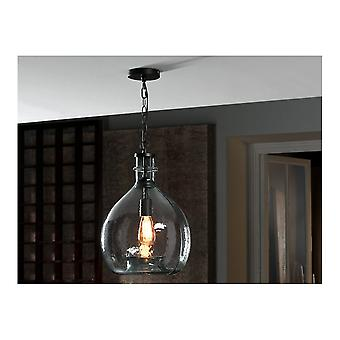 Schuller Traditional Black Hanging Ceiling Light Pendant With Recycled Blown Glass Globe Shade