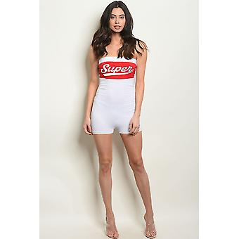 Womens white red romper
