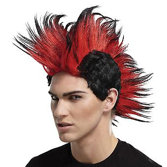 Double Mohawk Spike Black Red 1980s 70s Punk Rocker Mohican Mens Costume Wig