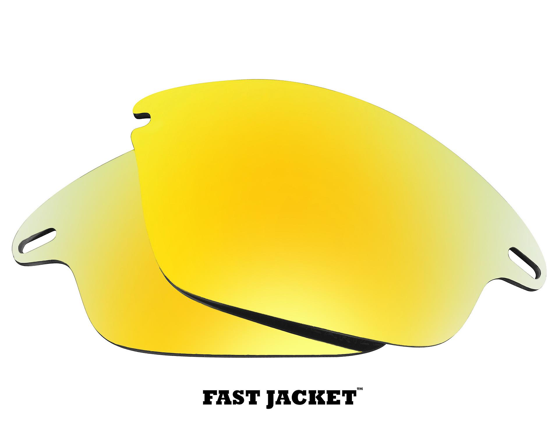Replacement Lenses Compatible with OAKLEY Fast Jacket Polarized 24K Gold Mirror
