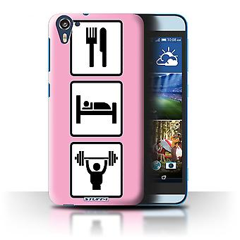 STUFF4 Case/Cover for HTC Desire 826/Lift/Workout/Pink/Eat/Sleep