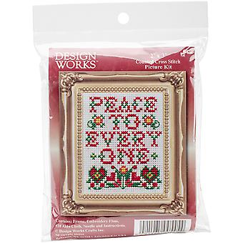 Peace W/Frame Mini Counted Cross Stitch Kit-3