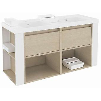 Bath+ Cabinet 2 drawers 2 shelves With Resin Basin 120cm Oak-White