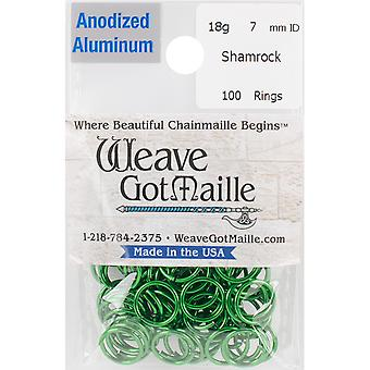Anodized Aluminum Jumprings 7mm 100/Pkg-Green HPAA18A7-SHAM