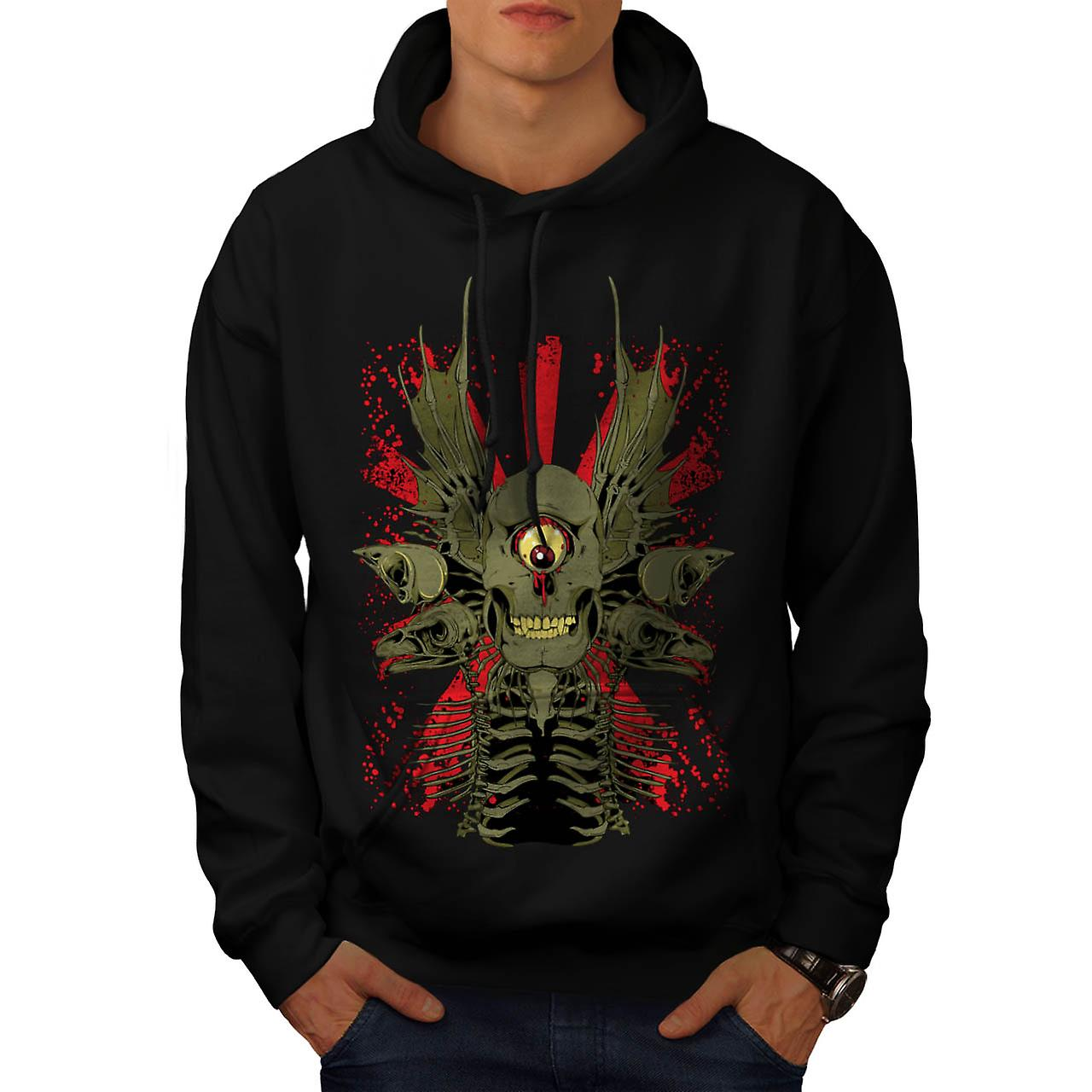 Scary Evil Cyclops Horror Skull Men Black Hoodie | Wellcoda