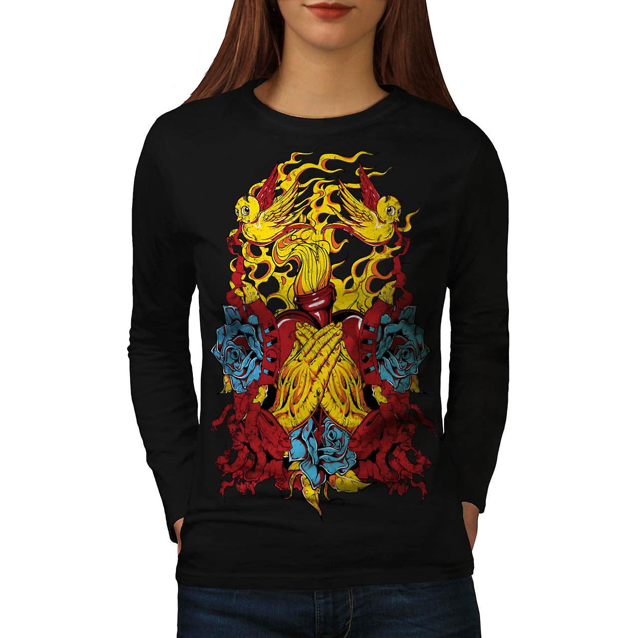 Rose Pray Dead Fashion Women Black Long Sleeve T-shirt | Wellcoda