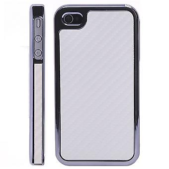 Chrome plastic cover and carbon-fiber iPhone 4/4S (white)
