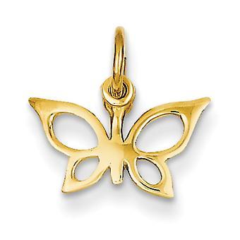 14k geel gouden Solid gepolijst Butterfly charme -.5 gram - maatregelen 13.3x13.9mm