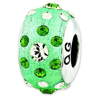 Sterling Silver Reflections Green Molded With Crystal Bead Charm