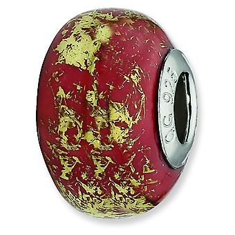 Sterling Silver Reflections Red With Gold Foil Ceramic Bead Charm - In Ceramic