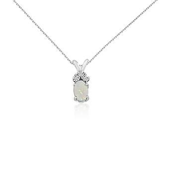 14K White Gold Oval Opal Pendant with Diamonds and 18