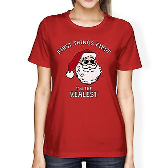 Realistic Santa Red Women's T-shirt Christmas Gift Funny Shirt