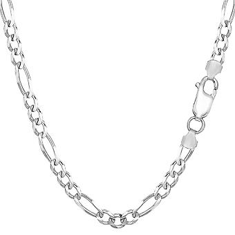 Sterling Silver Rhodium Plated Figaro Chain Necklace, 4.7mm