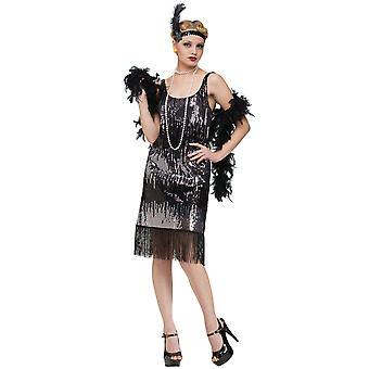 Jazz Baby stängnätet 20s svarta paljett kvinnor kostym