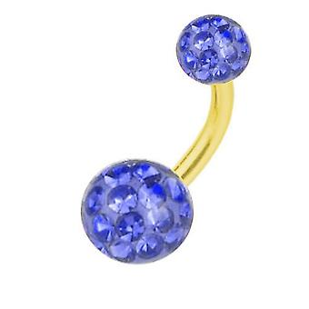 Belly Banana Piercing Gold Plated Titanium, Multi Crystal Ball Sapphire Blue | 6-16 mm