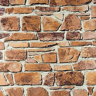 Brick Effect Wallpaper Vinyl Washable Slate Stone Wall Textured Realistic