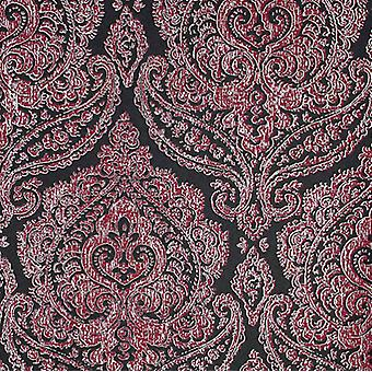 Damask Wallpaper Kenneth James Black Pink Metallic Silver Luxury Classic