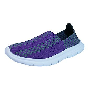 Air Tech Pessoa Womens Slip On Woven Trainers / Shoes - Purple