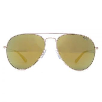 Levis Classic Pilot Sunglasses In Gold Gold Mirror