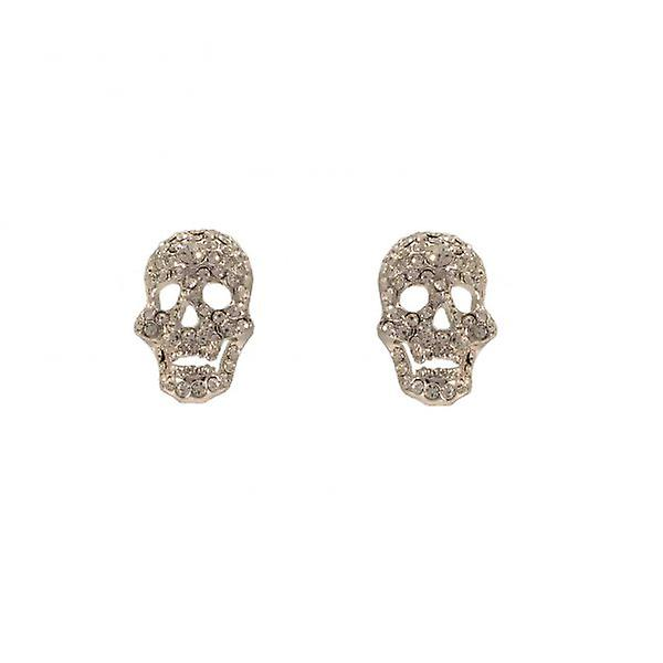 W.A.T Clear Swarovski Crystal Skull Stud Fashion Earrings