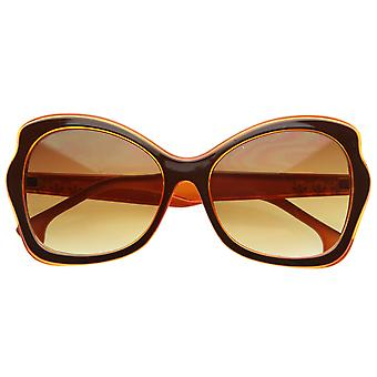 Designer Inspired Womens Oversized Butterfly Shaped Two-Tone Sunglasses