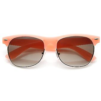 Pastel Color Semi-Rimless Half Frame Classic Horn Rimmed Sunglasses