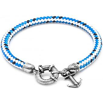Anchor and Crew Salcombe Silver and Rope Bracelet - Blue Dash