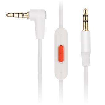 [REYTID] Replacement WHITE Audio Cable for Apple Beats Solo2 / HD Headphones w/ Remote Talk for iPhone/iPad/iPod & Android - Spare Lead Cable Wire
