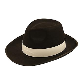 Adult Al Capone Black Hat With White Ribbon Fancy Dress Accessory