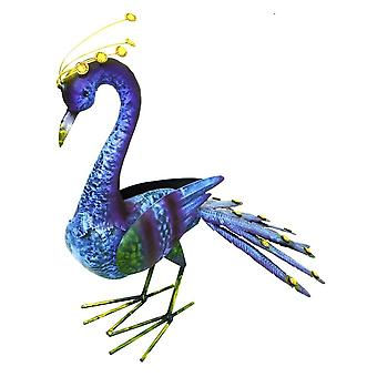Hand Painted Steel Large Tail Down Peacock Garden Ornament Decoration Item 52cm