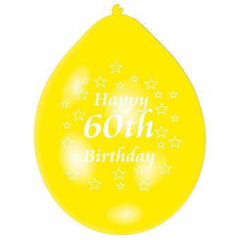 Amscan glad 60 fødselsdag flerfarget partiet ballonger (pakke med 10)