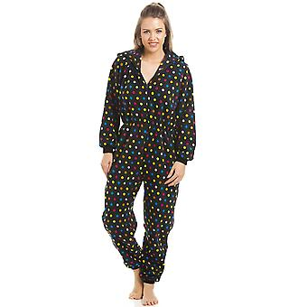Camille Multi-Coloured Spot Print All In One Hooded Pyjama Onesie