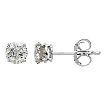 Synthetic Moissanite Solitaire Earrings 1/2 Carat (ctw) 4.00mm in 14K White Gold