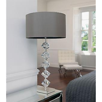 CLEAR CRYSTAL TABLE LAMP INCLUDING SHADE - Endon VERDONE