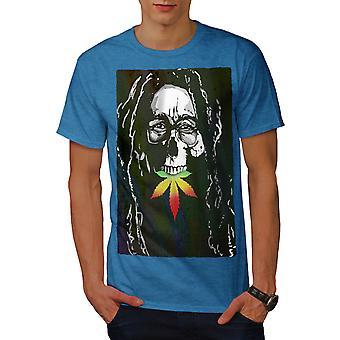 Skull Marley Weed Rasta Men Royal BlueT-shirt   Wellcoda