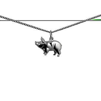 Серебряные 20x13mm стоя свинья Кулон с бордюр цепь 24 дюймов