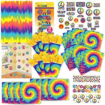 60s hippie Rainbow party set XL 80-teilig for 8 guests 60ies decoration party package