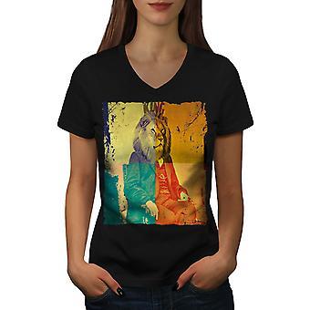 Lion President dyr kvinner BlackV-hals t-skjorte   Wellcoda