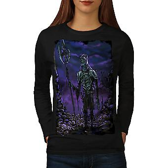 Grave Brain Creepy Women BlackLong Sleeve T-shirt | Wellcoda