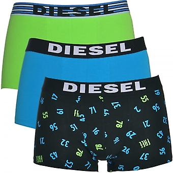 DIESEL 3-Pack Boxer Trunk UMBX-Shawn, groen / blauw / nummer Print, X-Large