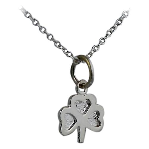 Silver 9x9mm plain Shamrock Charm with Rolo chain