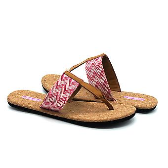 Atlantis Shoes Women Supportive Cushioned Comfortable Sandals Flip Flops Fashion Cork Pink-white