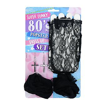 Adulti Super Funky anni ' 80 Popstar Dress Up Fancy Dress Accessory Set