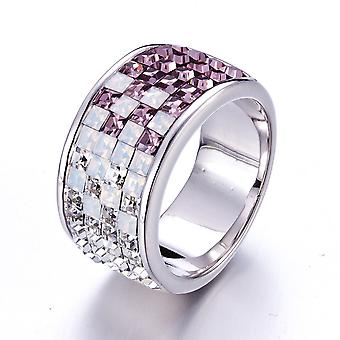 Ring adorned with Crystals of White Swarovski, Violet and Rhodium Plated - T50
